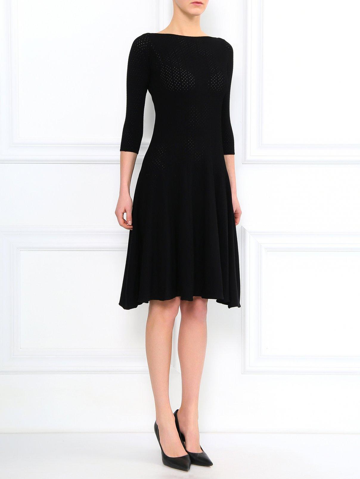 Трикотажное платье-миди с коротким рукавом Emporio Armani  –  Модель Общий вид